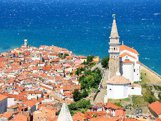 Aerial panorama view of Piran city in Adriatic sea, Slovenia